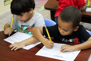 Students practice writing